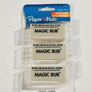 PAPERMATE-Magic-Rub-Latex-Free-Vinyl-PrismaColor-Pencil-Mark-Eraser-3-pk-NEW-NIP