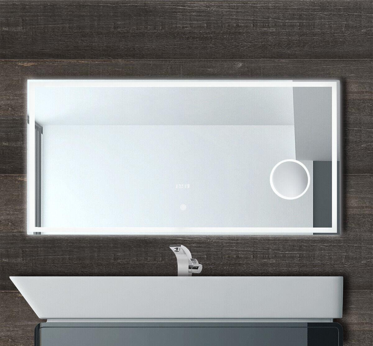 LED Badspiegel Wandspiegel mit Beleuchtung Uhr Touch Schalter Schminkspiegel
