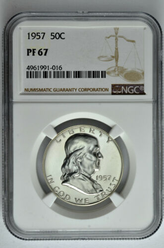 1957 50c Silver Proof Franklin Half Dollar NGC PF 67