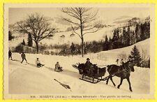 cpa MEGÈVE (Hte Savoie) STATION HIVERNALE LUGES ATTELÉS Tailing Ski Joëring