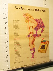 newspaper-ad-1940-OLD-GOLD-cigarette-George-Petty-girl-pinup-leggy-Scottish
