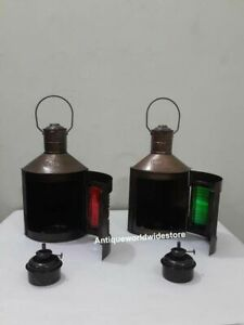 Nautical-Metal-Port-Lantern-amp-Star-Bord-Lantern-Set-Of-2-Ship-Oil-Lamps
