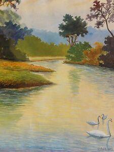 Rohde-signiert-Aquarell-1919-SCHWANE-SCHWANENFAMILIE-IM-TEICH
