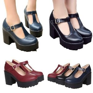 f3db05de7e Image is loading Womens-Chunky-Heels-Retro-Platform-Mary-Jane-Ankle-