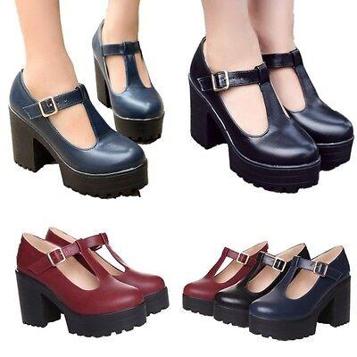 Womens Chunky Heels Retro Platform Mary