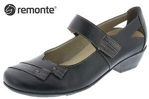 81ef99f1b1e4e8 Das Bild wird geladen Remonte-Damen-Slipper-Riemchen-Pumps-Schwarz -Leder-Schuhe-