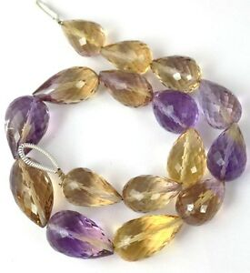 1 Strand 16 Pcs Natural Ametrine Drilled Faceted Briolette Gemstone Beads 10