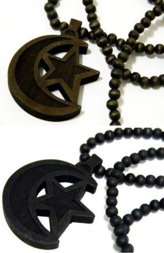 Crescent Moon Star Muslim Flag Symbol Wooden Wood Necklace Hip Hop Bead Beaded