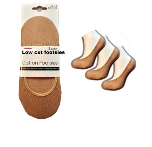 Ladies Natural Cotton Footsies// Footlets No Show Shoe Liners Socks  3 pair Pack