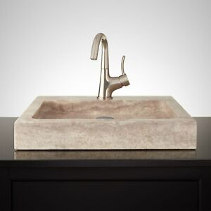 "Signature Hardware 231915 20"" Square Polished Travertine Vessel"