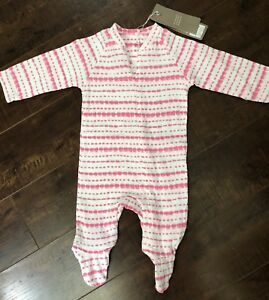 Pink Aden Anais Baby Girl Long Sleeve Coverall ~ White Blue /& Mint Green ~