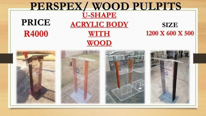 U Shape Acrylic Body With Wood Pulpit