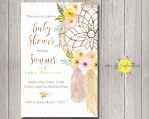 Custom Baby Shower Invitation Girl Boho Floral Feathers Dream