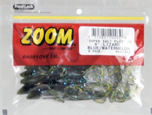 "Lot 3 Zoom Bait 002-103 Lizard 6/"" Blue Watermelon 9 Pack Fishing Soft Plastic"