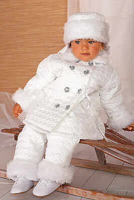 Caritatevole Completo Invernale Abito Battesimo Bianco Cerimonia Damigella Tg 62-92 Cod 341