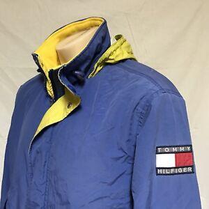 71fa0a455 VTG 90s Tommy Hilfiger Sailing Jacket Colorblock Flag Coat Hooded ...