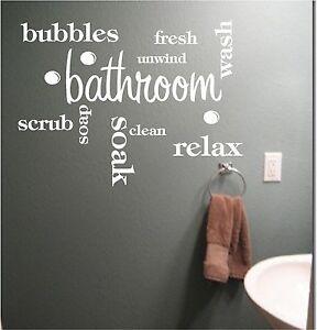 bathroom word cloud vinyl wall art quote sticker wash words bath rh ebay co uk Word Wall Art for Bathroom Word Wall Art for Bathroom