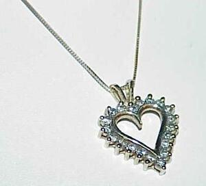 10K-50ct-DIAMOND-Heart-Pendant-Necklace-18-034-Chain-Yellow-Gold-Vintage-Estate-pc