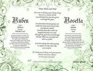 Personalized poem for mom and dad with two name meanings ebay image is loading personalized poem for mom and dad with two stopboris Images