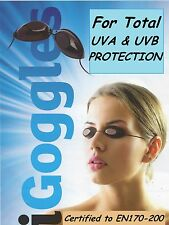 20 NEW PAIRS OF ELASTICATED SUNBED TANNING UVA SLIMLINE EYE PROTECTION GOGGLES