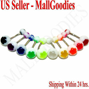 W049-Acrylic-Belly-Naval-Rings-Bars-Barbells-Flower-Stars-Color-Design-LOT-of-10