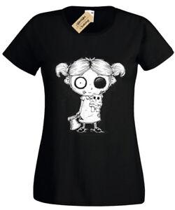 Zombie-Girl-Femmes-T-Shirt-Goth-Rock-Burton-Halloween-Spooky-morts-vivants-Haut-Femme