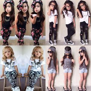 2pcs-Mode-Bebe-Fille-Enfants-T-shirt-Manche-Courte-Haut-Pantalon-Tenues