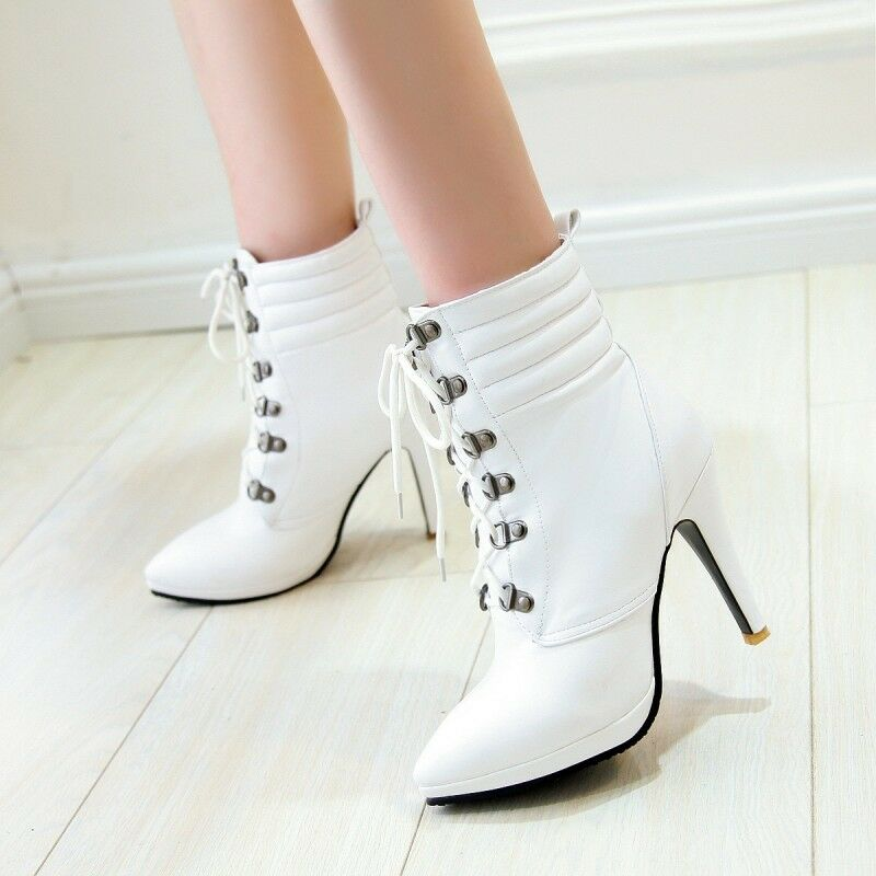 Women Spring Lace Up High Stilettos Heel Pointy Toe Ankle Boots Formal Pumps HOT