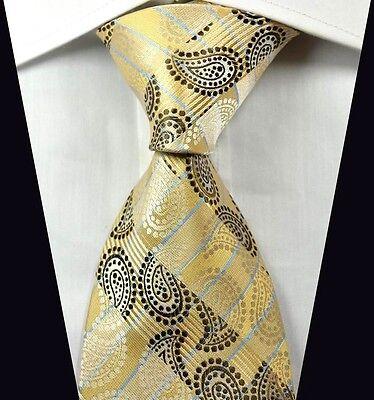 LT0365 Yellow Brown Paisley Men's New Classic Jacquard Woven Silk Necktie Tie