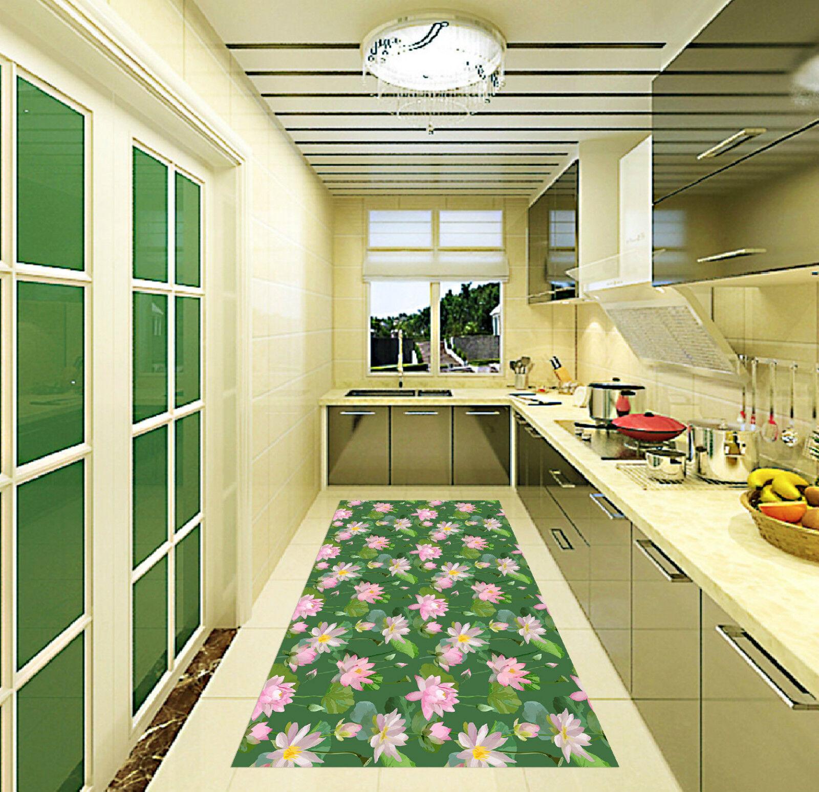 3D Pretty Lotus 6 Kitchen Mat Floor Murals Wall Print Wall Deco AJ WALLPAPER CA