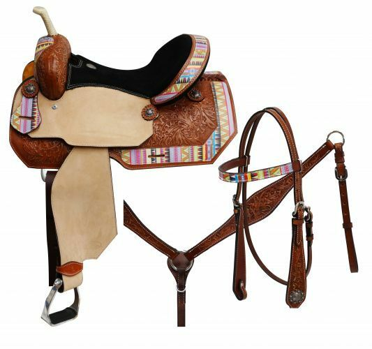 Circle S BARREL SADDLE Multi ColGoldt AZTEC Print BRIDLE BRIESTCOLLAR REINS Set