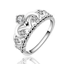 Silver Crown elegant women wedding bridal ring diameter 17 mm size O FR233