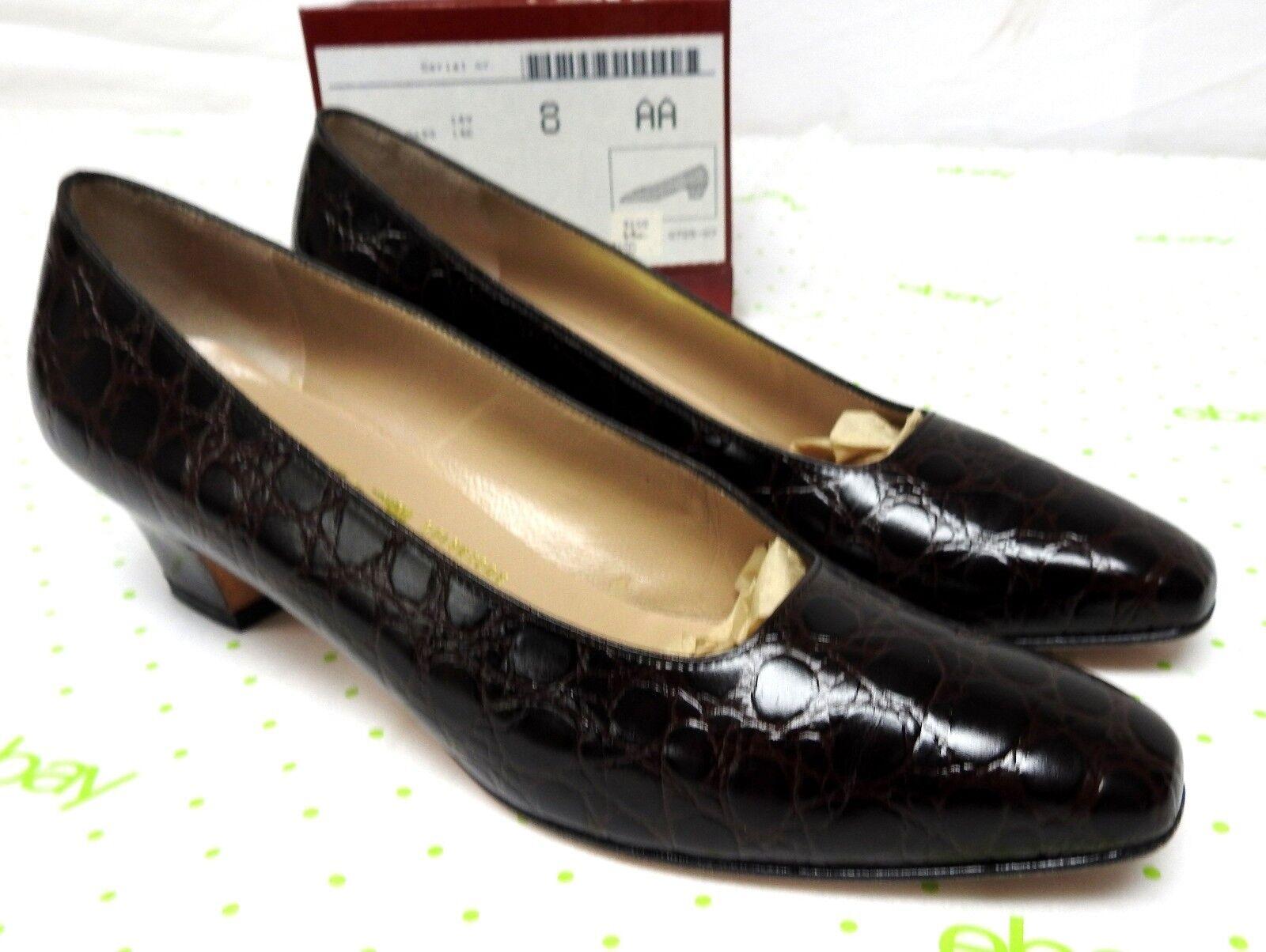 Salvatore Ferragamo Damens's Größe 8 AA Narrow pumps Leder Braun calf croc