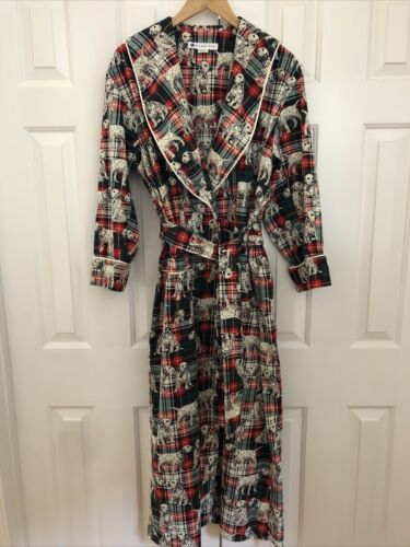 Eileen West Women's Flannel Long Robe M Red Multi