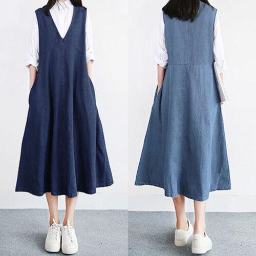 UK 8-24 Women Summer Sleeveless Denim Jeans Look A-Line Swing Long Shirt Dress