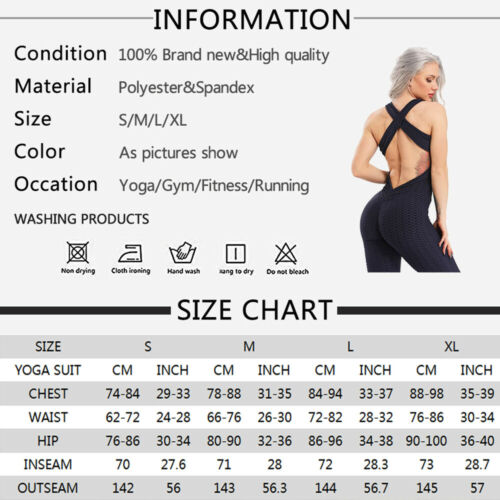 Women Jumpsuit Yoga Top//Leggings Anti-Cellulite Sport Ruched Gym Fitness Pants