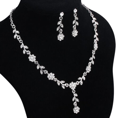 Wedding necklace earring Plated Jewelry Set Necklace+Earring Flower+Leaves Style