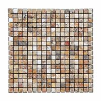 Scabos 5/8 X 5/8 Tumbled Travertine Mosaic Tile