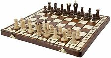Wood Chess Set Royal 36 Wooden International Board Vintage Carved Pieces New Box