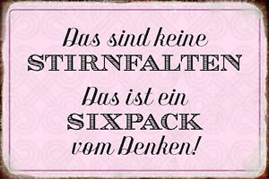 No Stirnfalten - Sixpack Tin Sign Shield Arched Tin Sign 20 X 30 CM R0570
