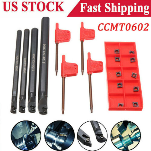 4 SCLCR06 7//8//10//12mm Lathe Boring Bar Tunring Tool Holder 10 Inserts CCMT0602