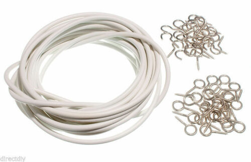Window Net White Curtain Wire Cord Cable 25ft Up To 100ft Free Hooks /& Eyes