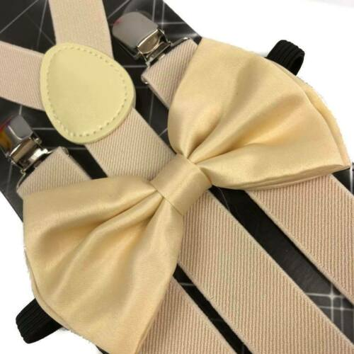 Clip on Bow-Tie Matching Set for Adults Men Women Cream Color Suspender USA