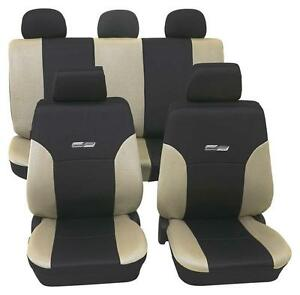Beige Amp Black Leather Look Car Seat Covers