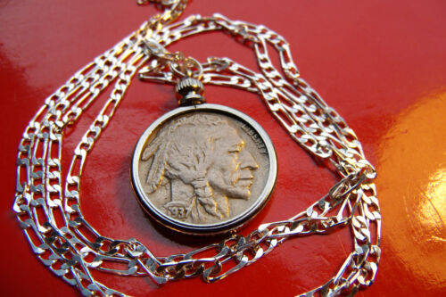 "Vintage About Uncirculated Buffalo Nickel on a 28/"" 925 Silver Chain"
