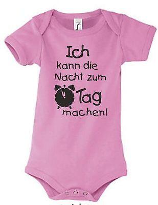 Baby Body Strampler Geburt Geschenk Textil Druck Tag Nacht Wecker Schlafen 5 Starke Verpackung
