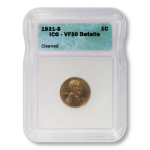 USA-Lincoln-Wheat-Cent-1c-1931-S-ICG-VF30-Details-Cleaned-Key-Date-Penny