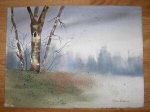 LOUISIANA ARTIST IMPRESSIONISM LANDSCAPE OLD TREE MINIMALIST WATERCOLOR PAINTING