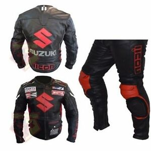 SUZUKI-4269-BLACK-MOTORBIKE-MOTORCYCLE-COWHIDE-LEATHER-ARMOURED-2-PIECE-SUIT