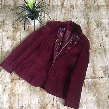Artsy Burgundy cotton velvet jacket with button detail lapels size 8/10 Boho